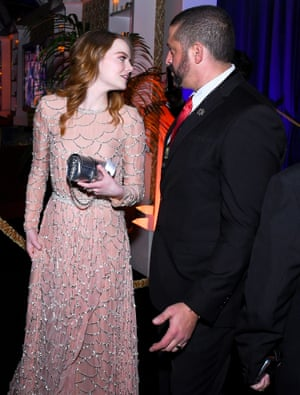 Emma Stone and guest at Fox's afterparty.