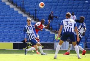 Arsenal's Nicolas Pepe scores their first goal.