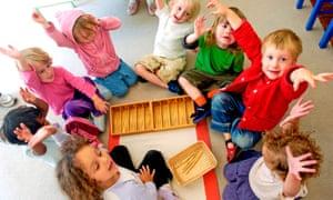 Montessori nursery school kids aged 3 to 6 years old