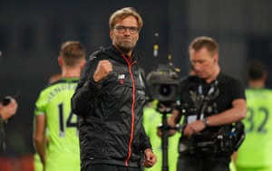 Jürgen Klopp celebrates the win after the final whistle.