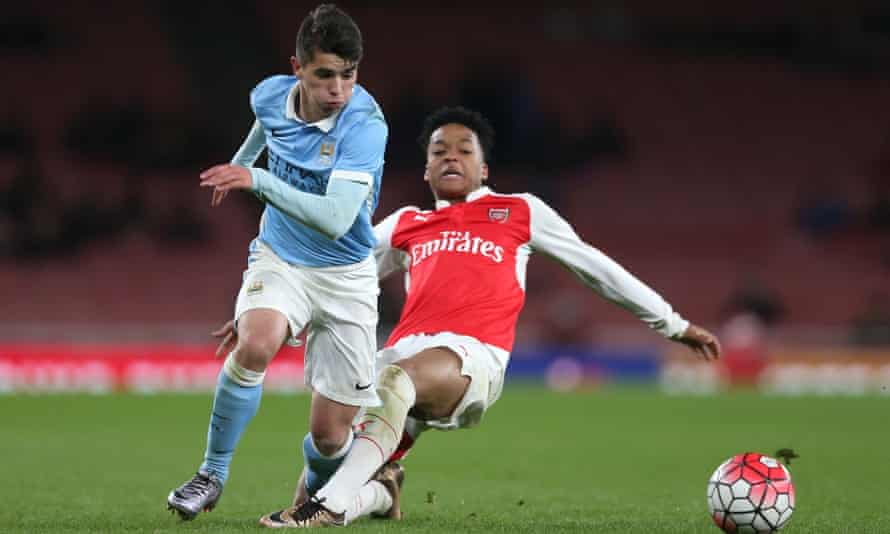 Brahim Díaz in action for Manchester City youth team. He is one of three young players who will be promoted to Pep Guardiola's senior squad.