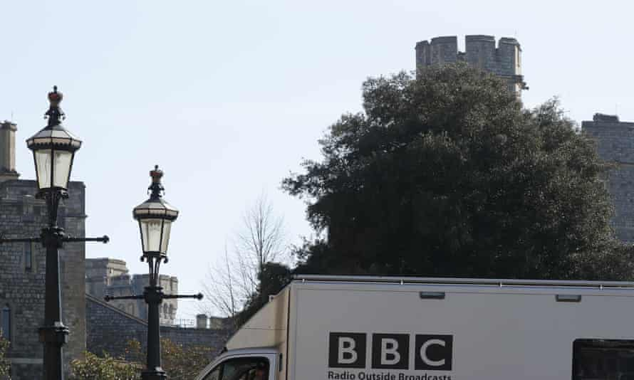 A BBC lorry enters Windsor Castle in preparation to cover Prince Philip's funeral