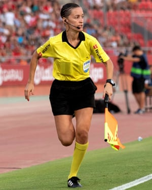 Guadalupe Porras Ayuso was assistant referee for Mallorca v Eibar – the first woman to officiate in La Liga.