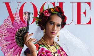 The cover of the December issue of Vogue with muxe Estrella Vazquez in a traditional dress.