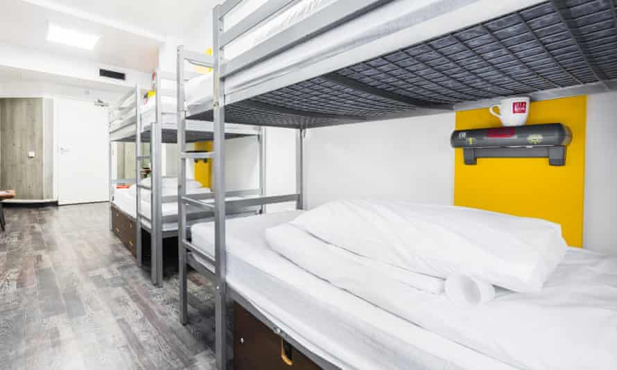 Dorm beds at YHA Newcastle Central.
