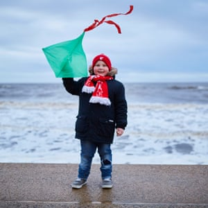 Carla Read's six-year-old son, Warren, flying a kite just after high tide