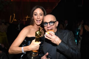 Bernie Taupin, joint winner with Elton John of best song, with Heather Lynn Hodgins Kidd at the 2020 Vanity Fair party.