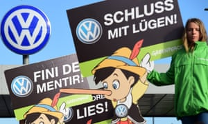 A Greenpeace protest in front of Volkswagen's headquarters in Wolfsburg, Germany