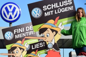 Activists at the headquarters of German car maker Volkswagen in Wolfsburg, Germany