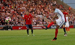 Marcus Rashford completes his hat-trick from the penalty spot on his impressive debut for England Under-21s in Tuesday's 6-1 win over Norway.