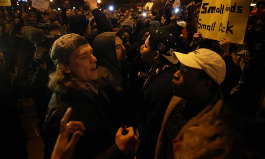 Trump supporters and protesters clash outside the UIC Pavilion after the rally was cancelled.