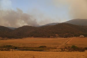 A spot fire breaks out west of Bredbo from the Clear Range Fire along the Bumbalong Road on Saturday.