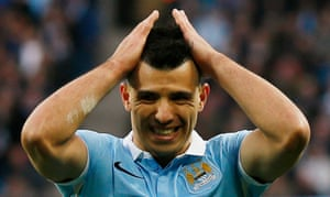 It's not Aguero's day as he hits the post.