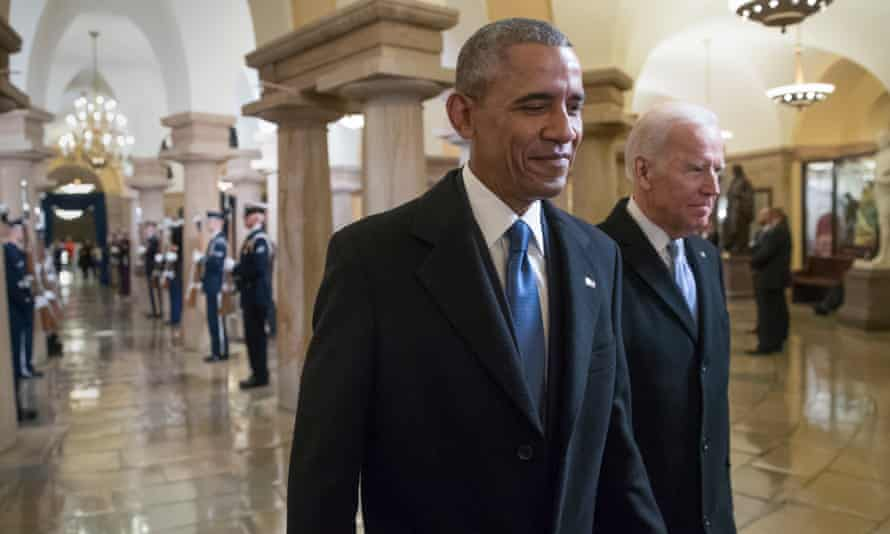 Obama with Biden at Trump's inauguration in 2017. Obama also said a successful Biden administration 'will have an impact' on a deeply polarised political landscape.
