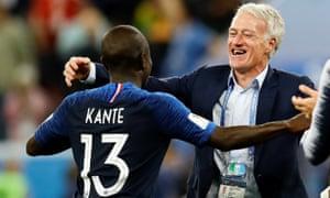 N'Golo Kanté and Didier Deschamps, France v Belgium