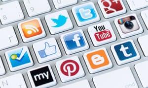 keyboard with social media logos on