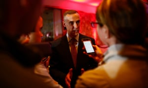 Corey Lewandowski speaks to reporters at Trump Tower in Manhattan in May 2016.