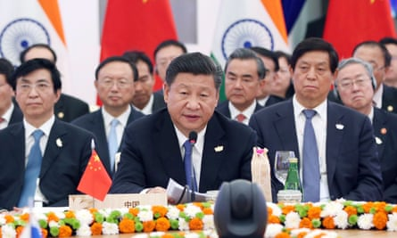 Chinese president Xi Jinping speaks at the eighth BRICS (Brazil, Russia, India, China and South Africa) summit in the western Indian state of Goa on Sunday.