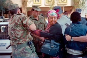 Winnie Mandela is arrested while protesting in Johannesburg