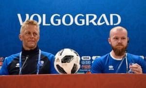 Iceland manager Heimir Hallgrímsson and captain  Aron Einar Gunnarsson address the media