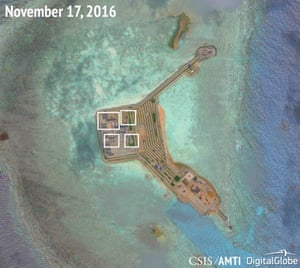 Suspected weapons installations on Gaven Reefs.