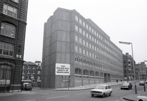 The Guardian moved from its London home on Gray's Inn Road to 119 Farringdon Road in August 1976. Pictured here, shortly before editorial and production staff moved in, the sign reads: 'This building will shortly be making news'. It was later replaced by large silver letters spelling The Guardian. The move was a success. (Archive ref. GUA/6/9/2/2/115).