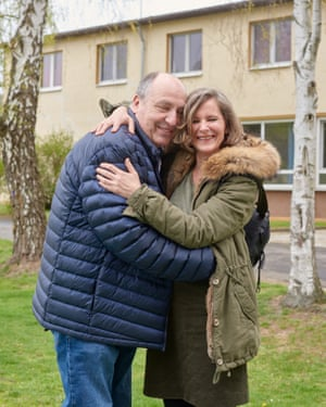 Bernd Bergmann and Barbara Kahlke reunited after 30 years. They are pictured outside the school in Marburg where the drama began.