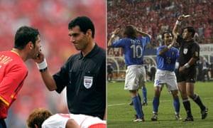 Gamal Ghandour's handling of South Korea's World Cup quarter-final against Spain (left) and Byron Moreno's officiating of the co-hosts' game versus Italy are shocking examples of 'homers'.