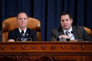 Democratic Chairman of the House intelligence committee Adam Schiff, and ranking Republican member Devin Nunes, prior to the start of questioning.