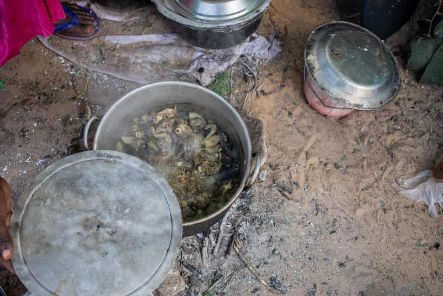 A meal being cooked in the Xidig IDP camp in Mogadishu.