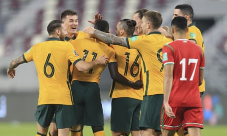 Record-breaking Socceroos remain on course to reach World Cup with win over Oman