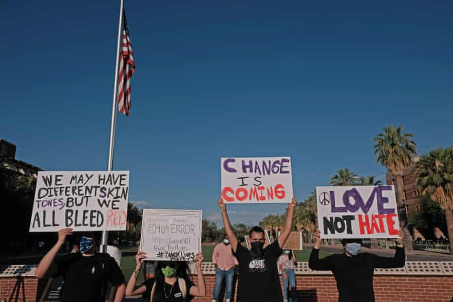 A rally to remember George Floyd at the University of Arizona at Tucson.
