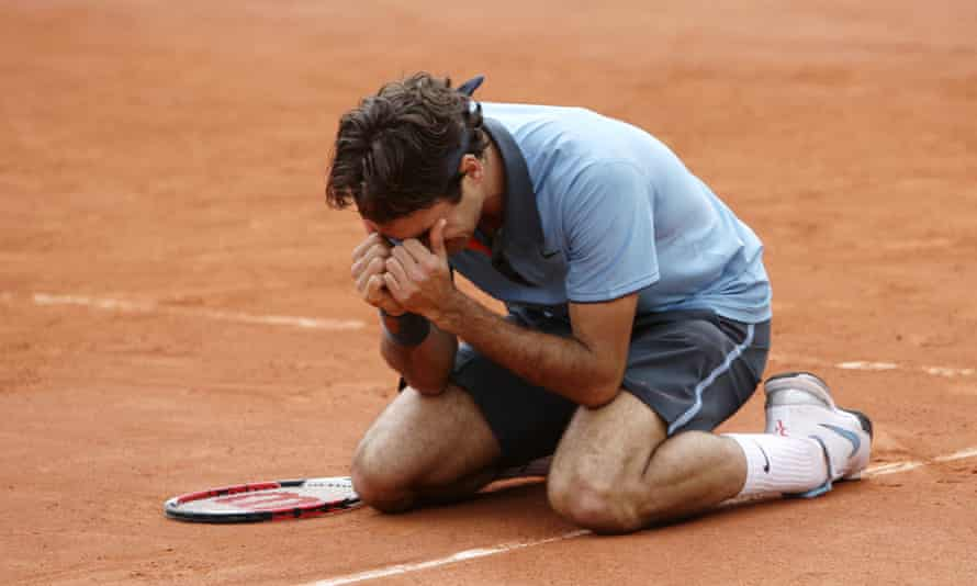 Roger Federer after winning the French Open in 2009.