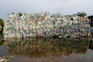 Plastic waste piled outside an illegal recycling factory in Jenjarom, Kuala Langat, Malaysia.