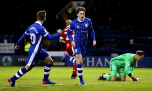 Adam Reach (centre) celebrates after scoring Sheffield Wednesday's third goal. The hosts moved five points clear of seventh-placed Norwich with victory.