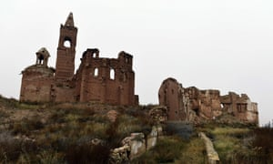 The ruins of San Martin de Tours church in the old village of Belchite in Aragon.