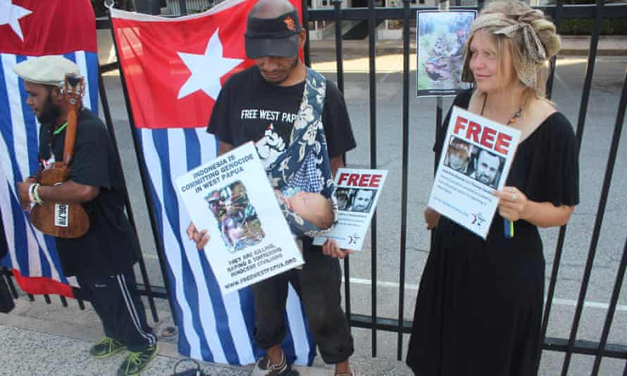 Lober Wanggai and Izzy Brown protest outside the Indonesian consulate