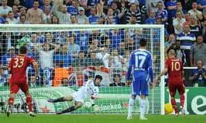 Chelsea's Petr Cech saves the penalty of Bayern Munich's Arjen Robben during extra-time in the 2012 Champions League final. Cech also saved two spot kicks in the penalty shoot-out, which Chelsea won 4-3 to win the trophy.