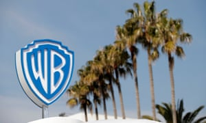 The logo of Warner Bros entertainment company is seen during the MIPTV, the International Television Programs Market, in Cannes.