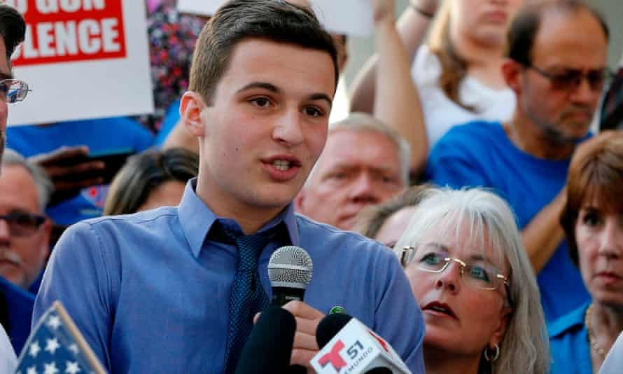 Cameron Kasky spoke on Saturday at a rally for gun control at the Broward County Federal Courthouse in Fort Lauderdale, Florida.