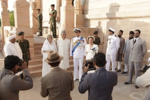 Gillian Anderson and Hugh Bonneville, centre right, as Lord and Lady Mountbatten in Viceroy's House.
