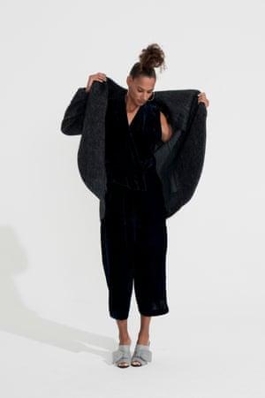 Black velvet coat H&M, sleeveless jumpsuit Asos, grey heeled sandals Kurt Geiger