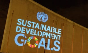SDG projections on the UN headquarters in New York