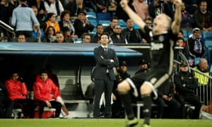 Santiago Solari (centre) replaced Julen Lopetegui at Real Madrid but the club are 12 points behind Barcelona in La Liga.