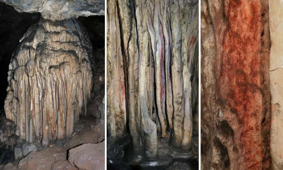A general view (left), medium close-up (middle) and extreme close up of a partly coloured stalagmite tower in the Spanish cave of Ardales, southern Spain.
