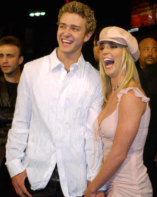 Spears with her then boyfriend, Justin Timberlake, at the premiere of Crossroads in 2002.