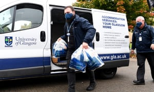 Food parcels are delivered for students at Murano Street student village in Glasgow.