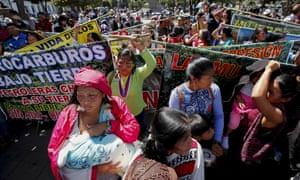 Dozens of women from the Ecuadorian Amazon gather at the Carondelet Palace, seat of the Executive, in Quito, Ecuador