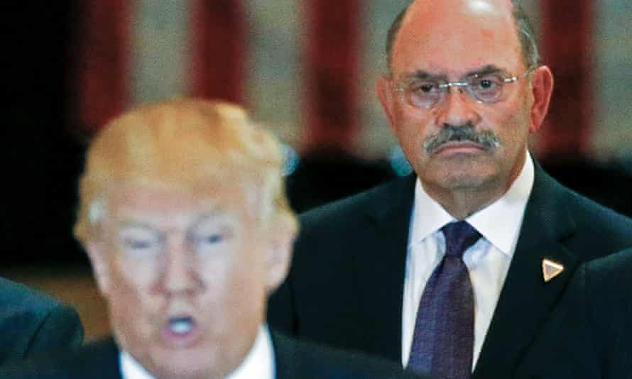 The Trump Organization chief financial officer, Allen Weisselberg, right, as Donald Trump speaks at a news conference at Trump Tower in Manhattan in 2016