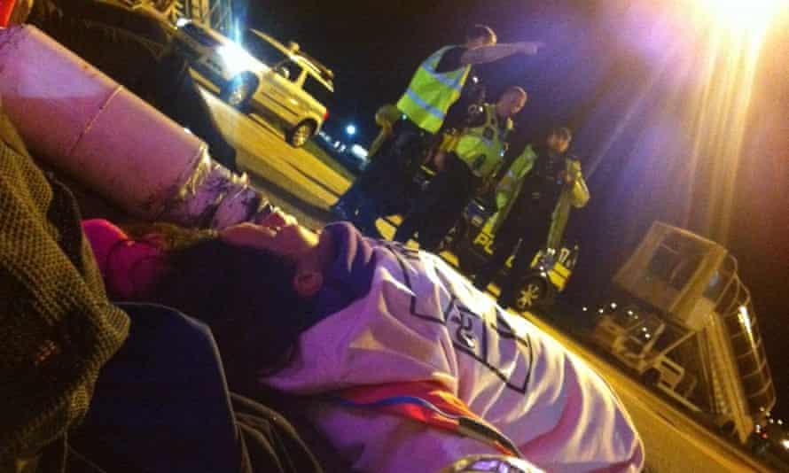 Activists blockading Stansted's runway to stop deportation flight in 2017.